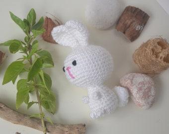 Amigurumi baby bunny toy, toddlers rabbit animal plushy. Handmade softy toys.