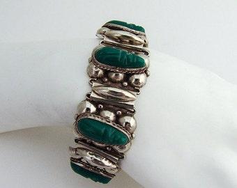 SaLe! sALe! Aztec Bracelet Green Agate Sterling Silver 1970
