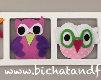 Set decoration for nursery and baby - a setting of 6 figurines + a large frame owls mobile wool felt