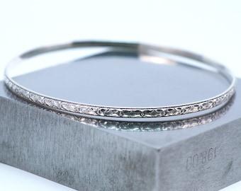Sterling Silver Bangle Bracelet, Art Deco Bracelet, Silver Bangle Made to Order, Silver Bracelet, Stacking Bracelet, Stacking Bangle