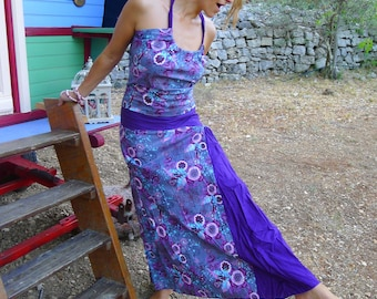 a-line dress, long, printed on purple background