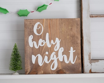 O holy night wooden stained Christmas decor sign
