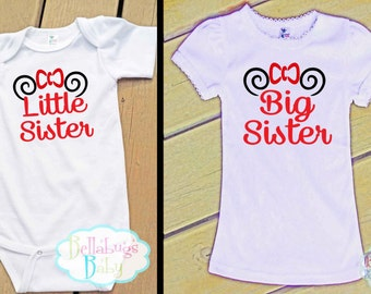 Minnie Mouse Ears Big Sister Little Sister Set Outfit - Bodysuit or Tshirt - Photo prop - Newborn
