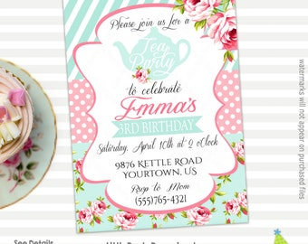 Tea party invitation Etsy