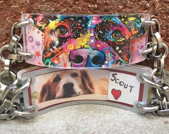 Pitbull Rescue Bracelet - Opens so that you can customize your adjustable bracelet to hold your fortunes, inspirations & dreams