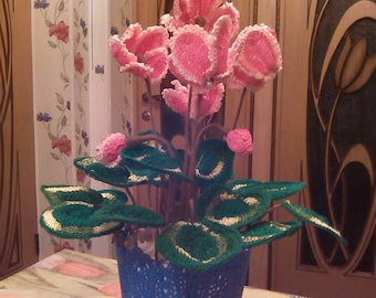 "Handmade crocheted flower ""Cyclamen"" in a pot for a gift"