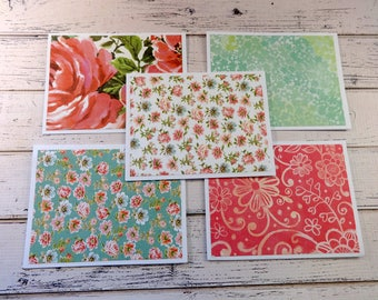 Note Card Set, Note Cards, Thank You Notes, Blank Cards, Set of 5 Note Cards with Matching Envelopes, Pink Floral Note Cards, Abigail