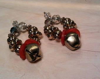 Dangle jingle bell earring set
