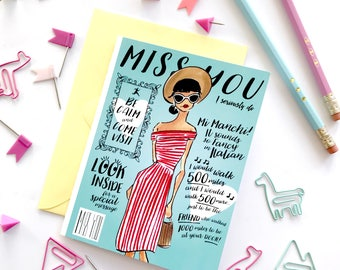 Miss you Card, blank cards, fashion stationary, fashion card,