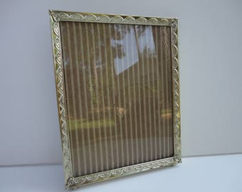 Vintage gold metal frame, 8 by 10 wall frame narrow metal picture frame, display, ornate thin, simple gold frame, mid century photo frame