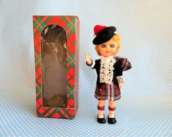 Vintage Scottish girl doll by Monteiths 1960s.