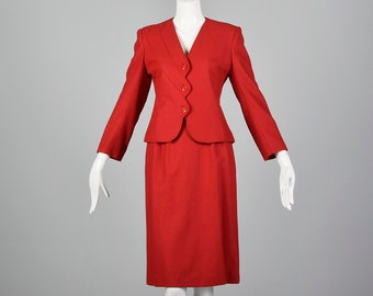 Small Red Skirt Suit 1980s Blazer Asymmetrical Set Vintage Separates Long Sleeve
