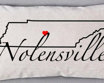 12x20 inch Linen Pillow Cover - Franklin, TN - your city, state outline - location pillow - custom pillow