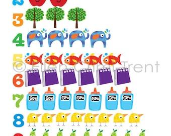 Kids Wall Art -numbers chart