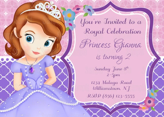 Printable Sofia The First Birthday Party Invitation Plus FREE