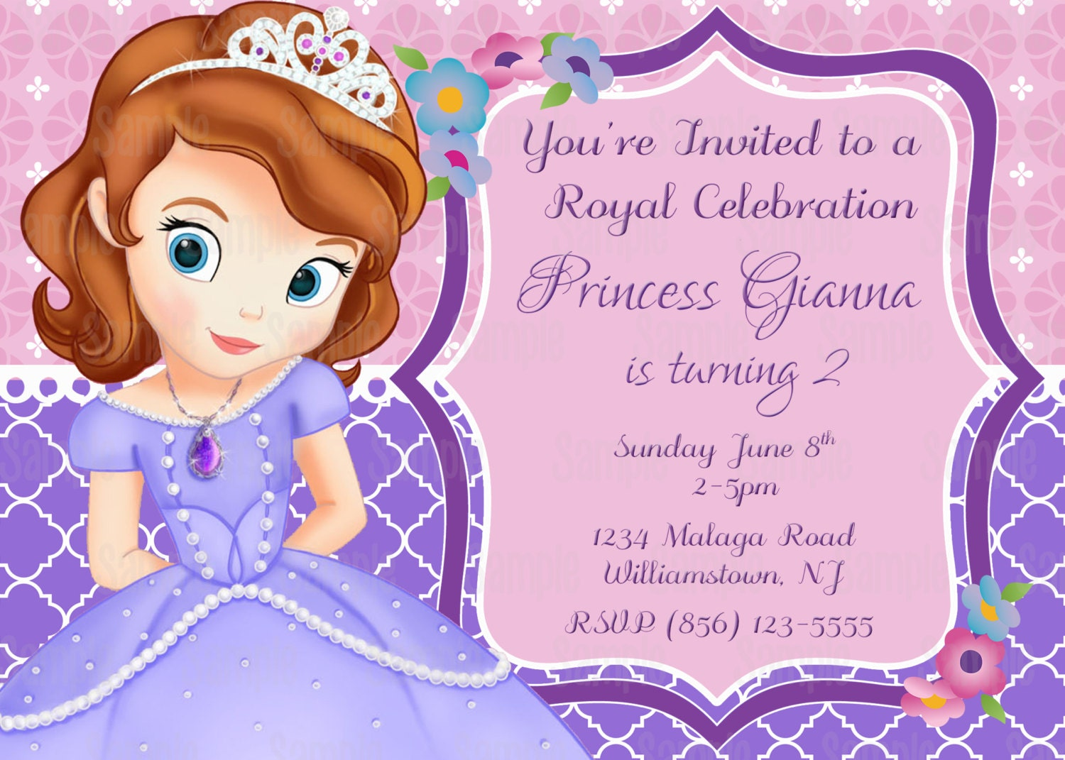 Printable sofia the first birthday party invitation plus free printable sofia the first birthday party invitation plus free blank matching printable thank you card stopboris Images