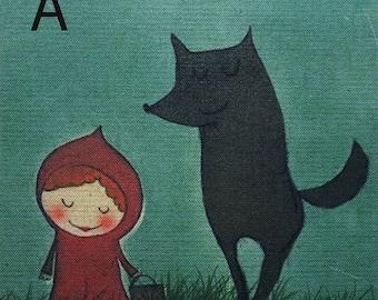 Little Red Riding Hood, Handprinted Linen Cotton Fabric Piece, 20 x 20cm / 8'' x 8'' or 15 x 15cm / 6'' x 6''