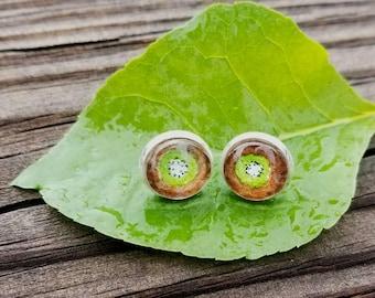 Kiwi Earrings. Kiwi fruit earrings, hand-painted in watercolor, silver-plated lime green earrings.  Wearable art greenery color