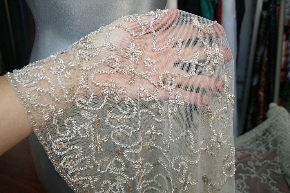 Beige Skin Color Nude Bridal Beaded Lace Fabric Beaded Tulle
