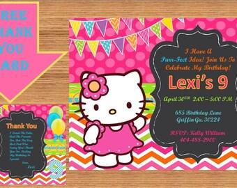 Hello Kitty Invitation, Hello Kitty Birthday, Hello Kitty Birthday Invitation, Hello Kitty Invite, Hello Kitty Party # Hello Kitty 00013