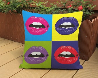 Andy Warhol Style Pop Art Print Cushion 45x45cm complete with high quality cushion pad
