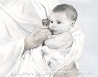 """Jesus and a Little Child, """"The Most Precious""""  Watercolor Giclee Print"""