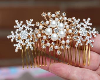 Snowflake Hair comb , Vintage Style Crystal Hair Comb, Art Deco headpiece, Bridal Headpiece,  Wedding Hair Comb, Snowflake Headpiece