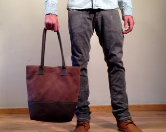 Sale!!! Brown Leather tote bag - Brown leather Bag for women, Tote leather bag, Handmade with LOVE!