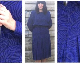 Vintage Parigi Deep Blue and Black Evening Waist Belted Dress - Size 14