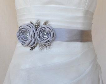 Bridal belt, Gray Bridal sash, Floral Bridal Belt, sash belt, Gray bridal belt, Flower wedding sash, Flower wedding dress belt