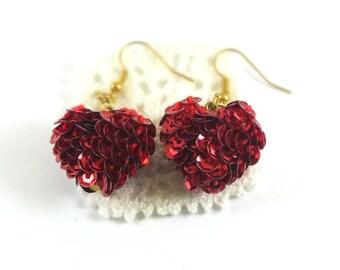 Red Crochet Sequin Heart Earrings / Jewelry