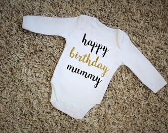 Happy Birthday Mummy Gold & Black Print Vest Bodysuit