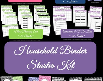 BLACK Household Binder Printables - Home Binder - Starter Planner -Pdf-Chevron Printable-Perpetual-Binder Cover-INSTANT DOWNLOAD