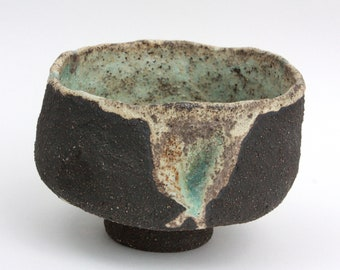 Handmade pottery cup, stoneware tea mug, ceramic koffee cup, rustical bowl, organic shape tea bowl, black ceramic tea cup, gift for her