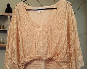 Gorgeous Vintage Peach Lace Shirt