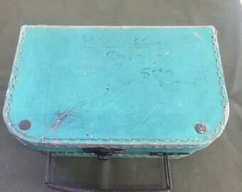 French 1950s chlids tiny suitcase in green with faded name and address