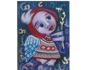Angel art, angel painting, ACEO Original art, folk art angel, abstract angel,  modern folk art, small art, mini gift art