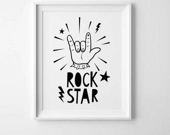 Playroom print, wall art poster, Scandinavian print, Rock star, kids room decor, kids wall art, playroom wall print, rock n roll kids print