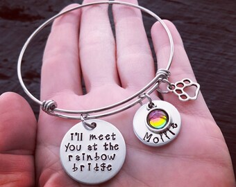 I'll Meet You At The Rainbow Bridge Bracelet © | Pet Memorial Jewelry | Pet Memorial Bracelet | Pet Sympathy Gift | Pet Sympathy Jewelry