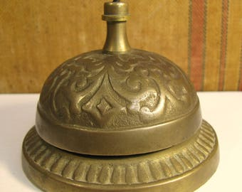 Vintage Ornate Cast Brass Store Shop Hotel Counter Top Bell