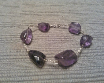 Gorgeous free form amethyst nuggets bracelet with 925 sterling silver chains