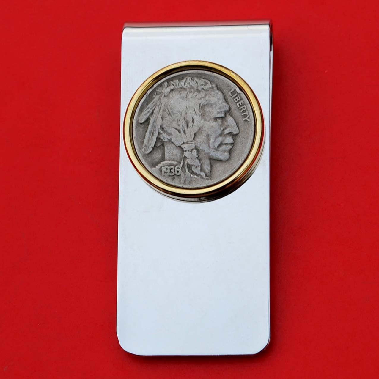 US-Indian Head 1936 Buffalo Nickel 5 Cent Münze aus massivem