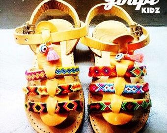"Handcrafted kids leather gladiators, ""Raquelina"", greek leather sandals, friendship bracelet sandals, bohemian ethnic sandals,tassel sandals"