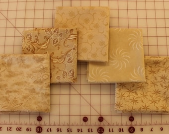 5 Fat Quarter Bundle of Buff and Tan Prints Quilting Fabric (5 Pieces)