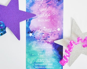 Printed Wedding Program 4x9 - Galaxy/Starry