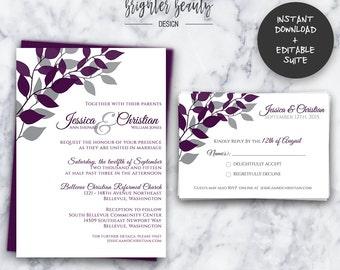 Purple Branch Wedding Invitation Suite   INSTANT DOWNLOAD   Editable PDF  Do It Yourself   Printable