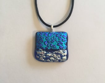 Blue glass with dichroic and fire glass necklace