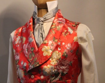 victorian style vest in red chineese silk brocade, shawl collar waistcoat, vintage menswear, edwardian vest, flower print waistcoat