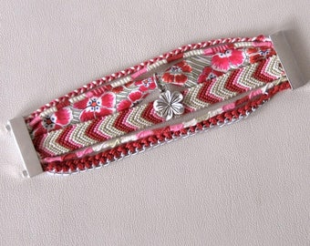 Burgundy rose fantasy cuff Brazilian hippie bracelet multi strand Brasilda Passerose