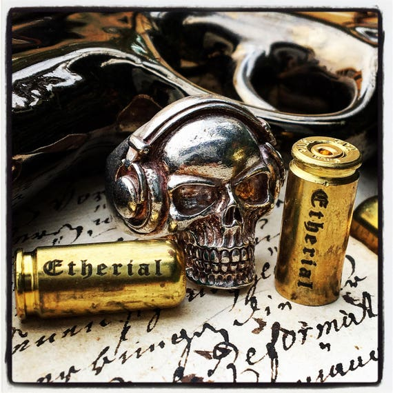 Etherial Jewelry Rock Chic Talisman Luxury Biker Custom Handmade Artisan Pure Sterling Silver .925 Bespoke Handcrafted Skull DJ Badass Ring